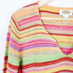 Talbots Sweater Bright Multi-Color Pullover M